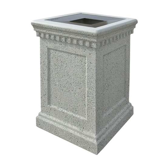 24-Gallon Colonial Trash Can with Concrete Frame and Aluminum Top - 640 lbs.