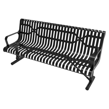 ELITE Series 6 Foot Contour Thermoplastic Slatted Metal Bench - 210 lbs.