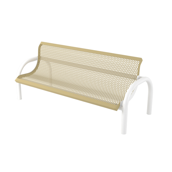 4 Ft. Bench With Back - Thermoplastic Coated Steel - Regal Style - Inground Mount