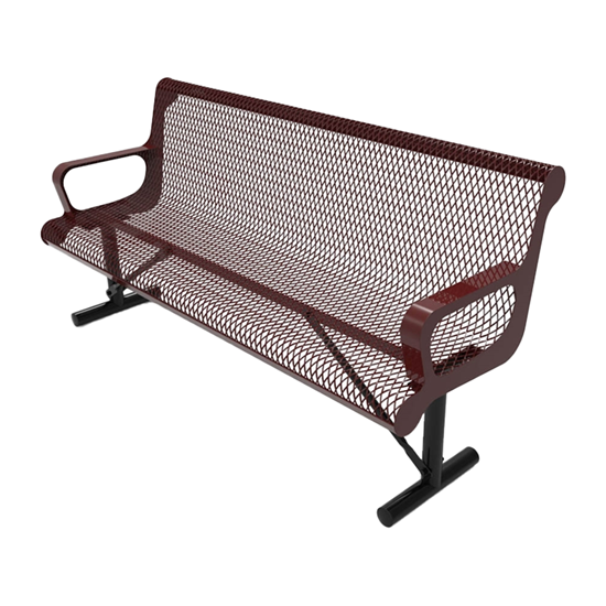 RHINO 6 Foot Contoured Bench with Arms and Back
