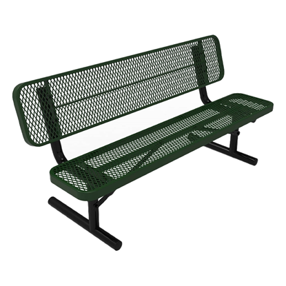 ELITE Series 6 Foot Player's Bench with Back, Expanded Metal, Portable