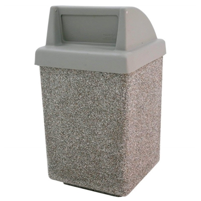 53 Gallon Concrete Trash Can With Spring-Loaded Push Door - Gray