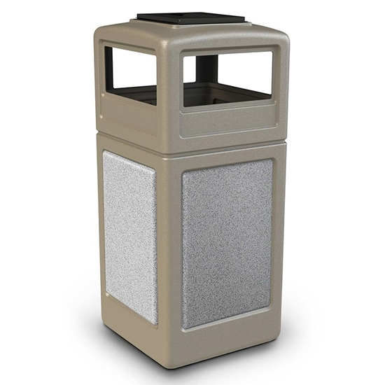 42 Gallon Plastic Ash and Trash Can with Stone Panel - Ash Tray Top
