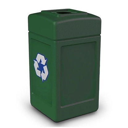 42-Gallon Polyethylene Recycling Container Polytec Series with Top-Opening Lid - 18 lbs.