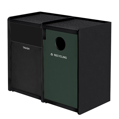 Dual 32-Gallon Side-Opening Recycling and Trash Receptacle EarthCraft Series - 168 lbs