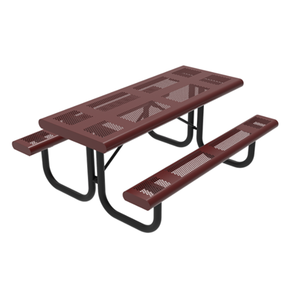 6 Foot Rectangular Pattern Punched Steel Picnic Table
