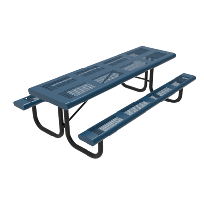 8 Foot Rectangular Pattern Punched Steel Picnic Table
