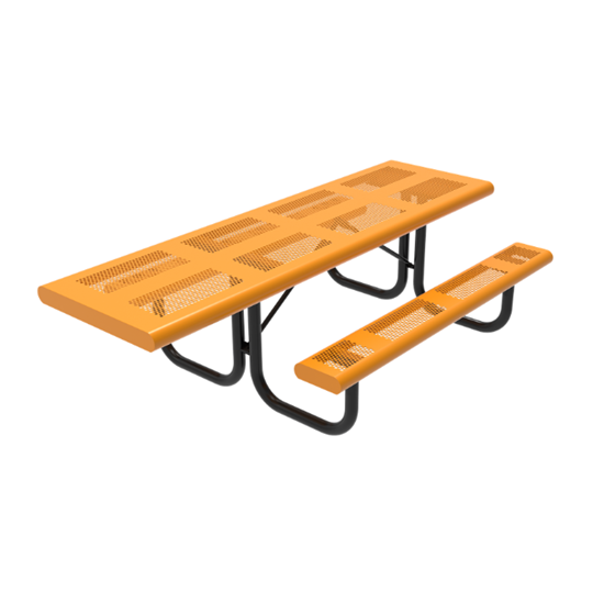 ADA 8 Foot Rectangular Pattern Punched Steel Picnic Table