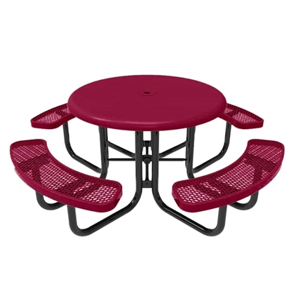 RHINO Solid Top Picnic Table with Expanded Metal Seats