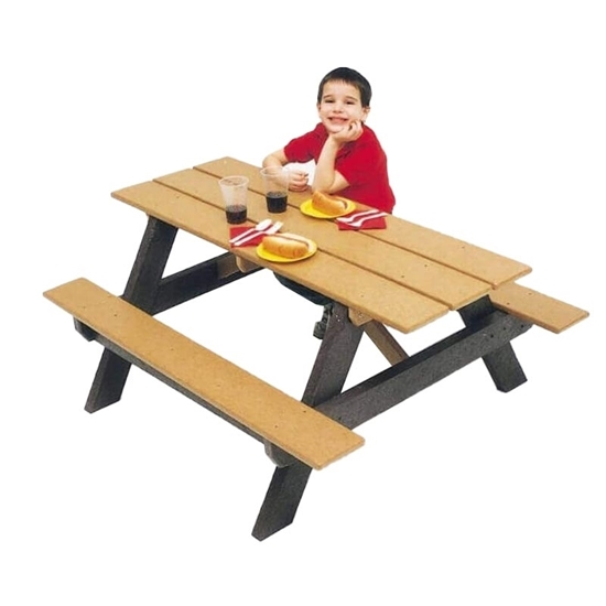 4 Ft. Children's Rectangular Recycled Plastic Picnic Table - Portable