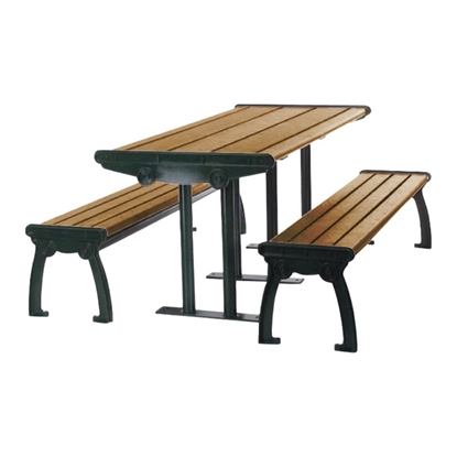 8 Ft. Recycled Plastic Picnic Table With Powder Coated Steel Frame - Portable / Surface Mount