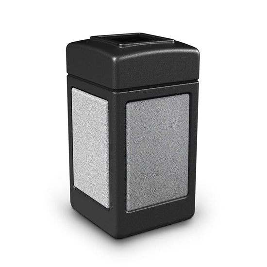 42 Gallon Plastic Trash Can with Stone Panels