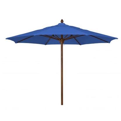 11 Ft. Octagonal Market Umbrella - Augusta Style - Simulated Wood Pole - Marine Grade Fabric