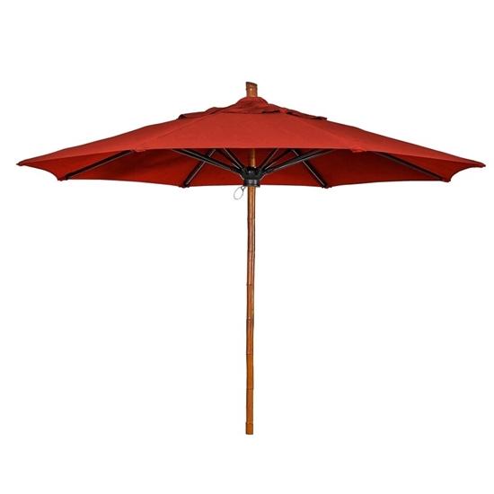 11 Ft. Octagonal Market Umbrella - Bambusa Style - Simulated Bamboo Pole - Marine Grade Fabric